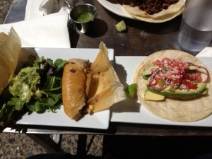 vegan tamales and avocado taco