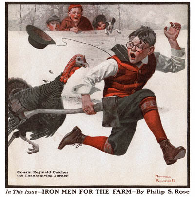 Cousin Reginald Catches the Turkey Norman Rockwell