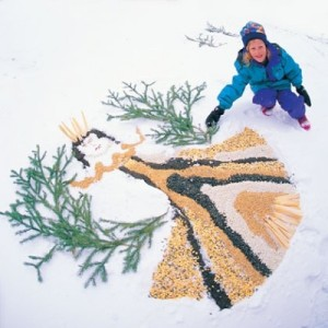 I couldn't find ANY other photos of a birdseed snow angel, so send one if you try it!
